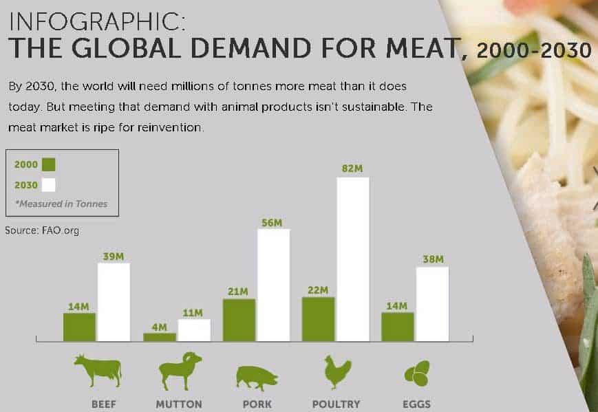 Wereldwijde vraag naar vlees