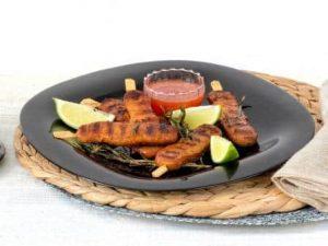 Meat substitute: Vegetarian skewers