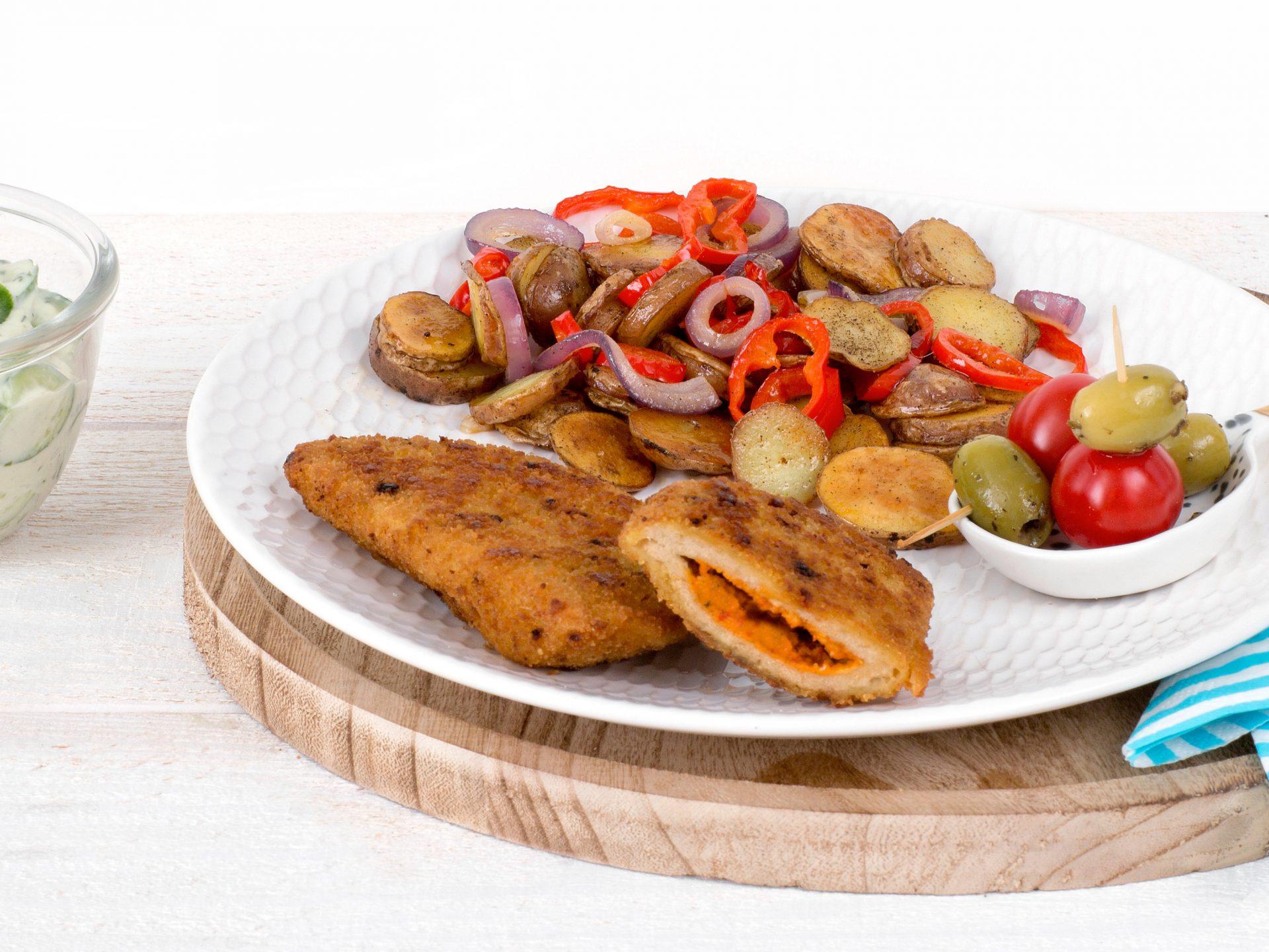 Fleischersatz: vegetarische griechisches Schnitzel