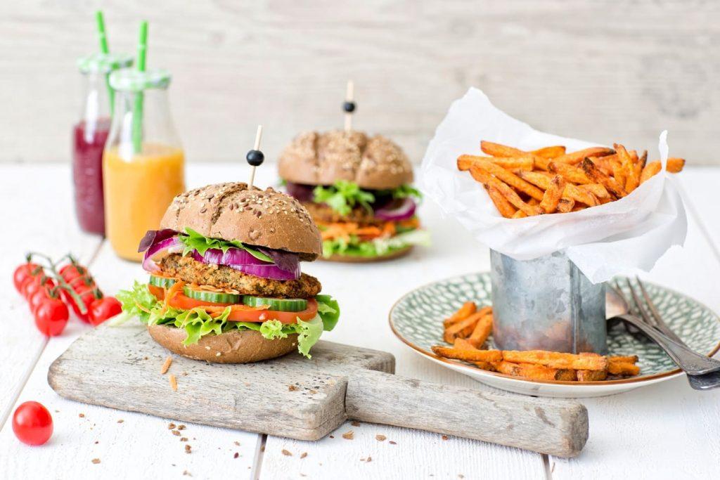 vegan lentil burger on a bun