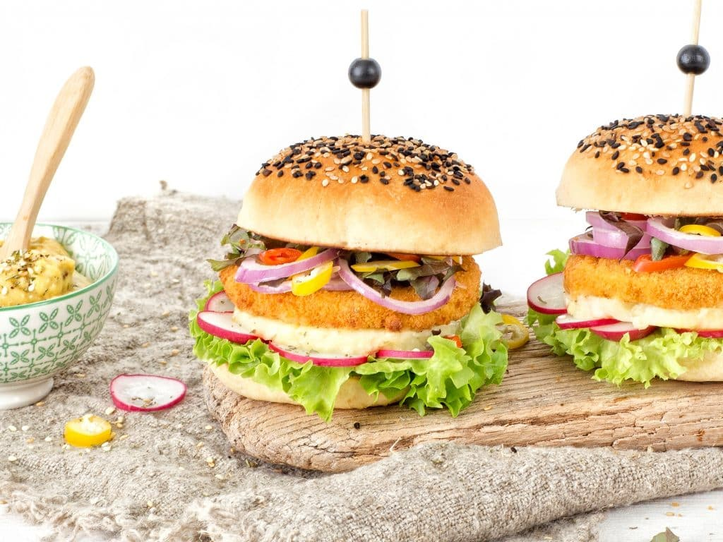 Schouten Europe: manufacturer vega en vegan meat substitutes: Vegan chicken burger