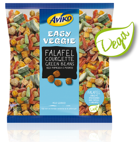 Plant-based protein producten als ingrediënt: Aviko Easy Veggie Falafel With Courgette, Green Beans, Red Paprika And Potato