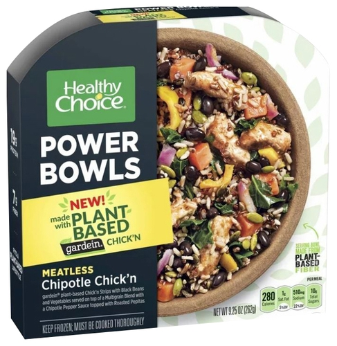 Plant-based protein producten als ingrediënt: Healthy Choice Power Bowls Meatless Chipotle Chick N