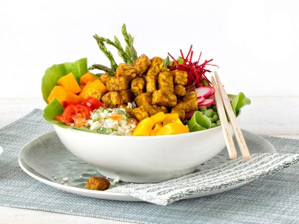 Schouten Europe - Manufacturer of meat substitutes: Vegan Tempeh Cubes Curry