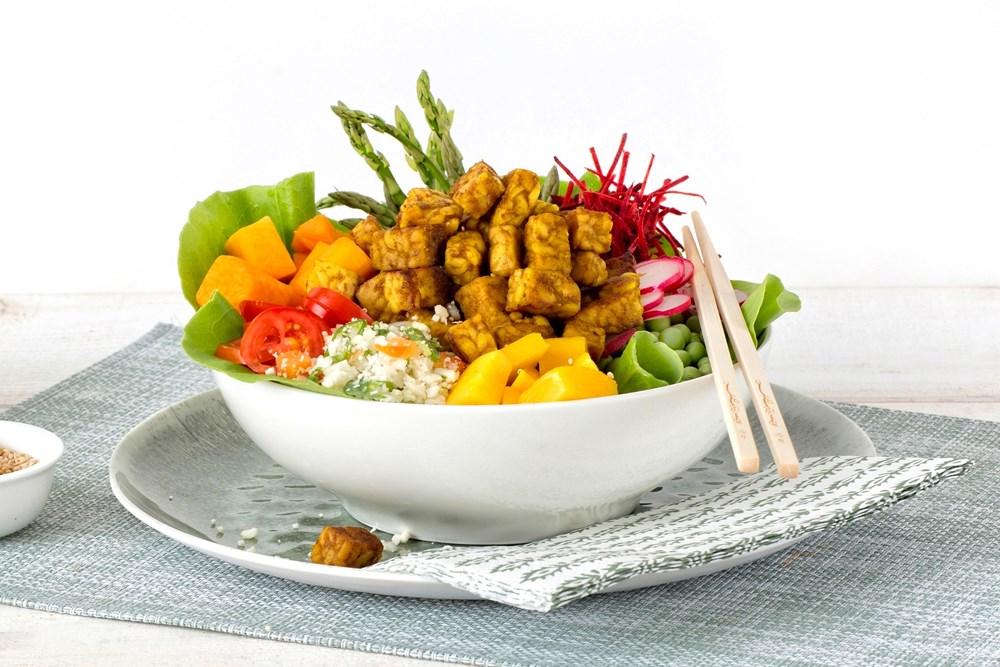 Schouten Europe - Producteurs de substituts de viande: Cubes de Tempeh Curry Végétal